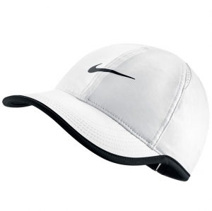 [나이키 여성용 페더라이트 테니스 캡] NIKE Women`s Featherlight Tennis Cap - White w/Black