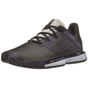 [아디다스 여성용 솔매치 바운스 테니스화]adidas Women`s SoleMatch Bounce Tennis Shoes - Core Black and Linen