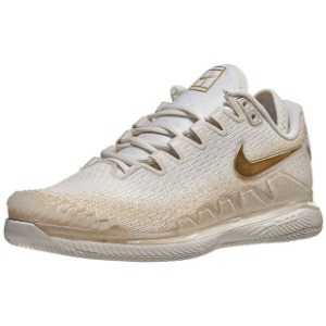 [나이키 여성용 에어 줌 베이퍼 X 니트 테니스화] NIKE Women`s Air Zoom Vapor X Knit Tennis Shoes - Phantom and Metallic Gold