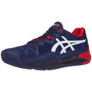 [아식스 남성용 젤 레졸루션 8 테니스화] ASICS Men`s GEL-Resolution 8 Tennis Shoes - Peacoat and White