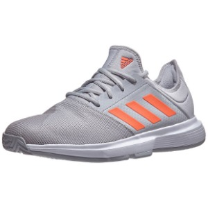 [아디다스 남성용 게임코트 테니스화] Adidas Men`s GameCourt Tennis Shoes - Gray Two and Signal Coral