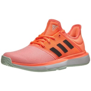 [아디다스 쥬니어 솔코트 테니스 신발] Adidas Juniors` SoleCourt Tennis Shoes - Signal Coral and Core Black