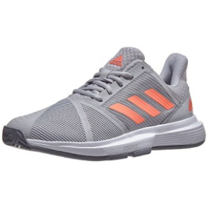 [아디다스 여성용 코트잼 바운스 테니스화] adidas Women`s CourtJam Bounce Tennis Shoes - Gray Two and Signal Coral