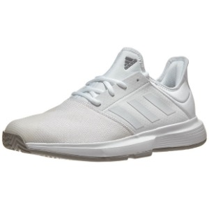 [아디다스 남성용 게임코트 테니스화] Adidas Men`s GameCourt Tennis Shoes - White and Dove Gray