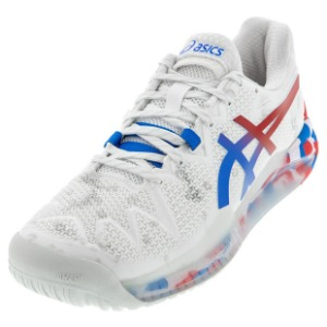 [아식스 남성용 젤 레졸루션 8 레트로 도쿄 테니스화] ASICS Men`s GEL-Resolution 8 Retro Tokyo Tennis Shoes - White and Electric Blue
