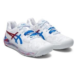 [아식스 여성용 젤-레졸루션 8 레트로 도쿄 테니스화] ASICS Women`s GEL-Resolution 8 Retro Tokyo Tennis Shoes - White and Electric Blue