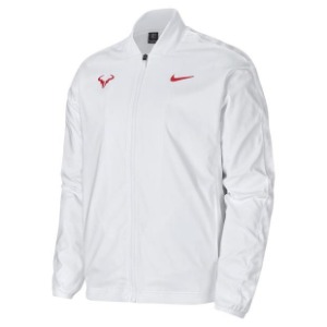 [나이키 남성용 라파 나달 코트 테니스 자켓] NIKE Men`s Rafa Court Tennis Jacket - White and Laser Crimson