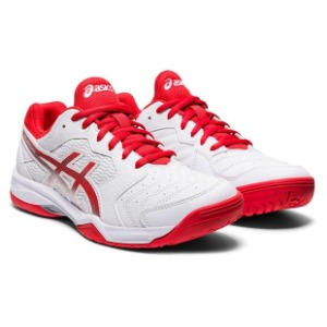 [아식스 여성용 젤 데디케이트 6 테니스화]ASICS Women`s GEL-Dedicate 6 Tennis Shoes - White and Fiery Red