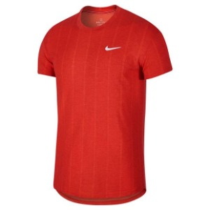 [나이키 남성용 코트 챌린저 SS 테니스 티셔츠] NIKE Men`s Court Challenger Short Sleeve Tennis Top - Habanero Red