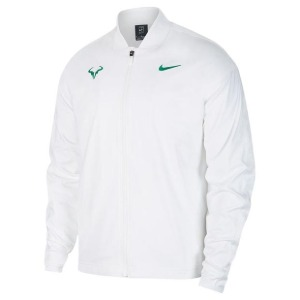 [나이키 남성용 라파 나달 코트 테니스 자켓] NIKE Men`s Rafa Court Tennis Jacket - White and Lucid Green