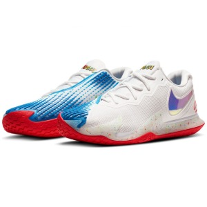[나이키 남성용 에어 줌 베이퍼 케이지 4 테니스화] NIKE Men`s Men`s Air Zoom Vapor Cage 4 Tennis Shoes - White and Photo Blue