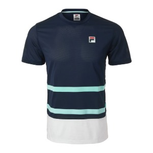 [휠라 남성용 Legends 랠리 테니스 티셔츠] FILA Men`s Legends Rally Tennis Crew - Navy and White