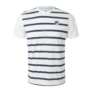 [휠라 남성용 Legends 얀 다이 테니스 티셔츠] FILA Men`s Legends Yarn Dye Tennis Crew - White and Navy
