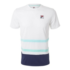 [휠라 남성용 Legends 랠리 테니스 티셔츠] FILA Men`s Legends Rally Tennis Crew - White and Navy